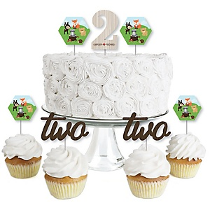 2nd Birthday Woodland Creatures - Dessert Cupcake Toppers - Second Birthday Party Clear Treat Picks - Set of 24