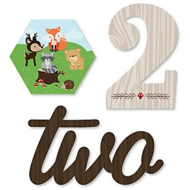 2nd Birthday Woodland Creatures - DIY Shaped Second Birthday Party Cut-Outs - 24 ct