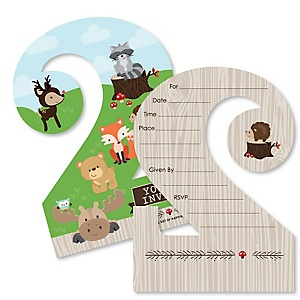 2nd Birthday Woodland Creatures - Shaped Fill-In Invitations - Second Birthday Party Invitation Cards with Envelopes - Set of 12