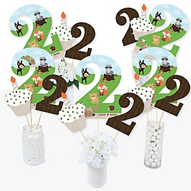 2nd Birthday Woodland Creatures - Second Birthday Party Centerpiece Sticks - Table Toppers - Set of 15