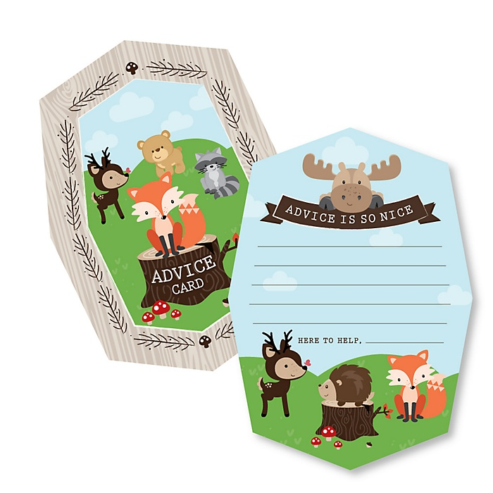 Woodland Creatures - Wish Card Baby Shower Activities - Shaped Advice Cards Game - Set of 20