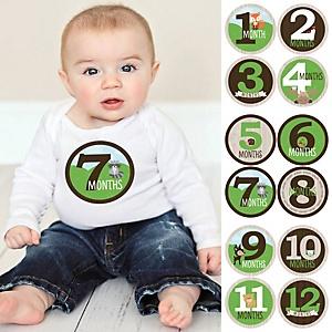 Baby Monthly Sticker Set - Woodland Creatures - Baby Shower Gift Ideas - 12 Piece