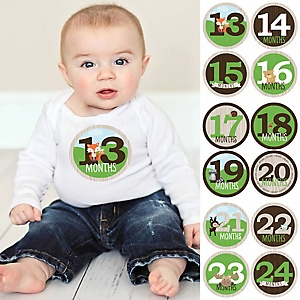 Baby Second Year Monthly Sticker Set - Woodland Creatures - Baby Shower Gift Ideas -  13 - 24 Months Stickers
