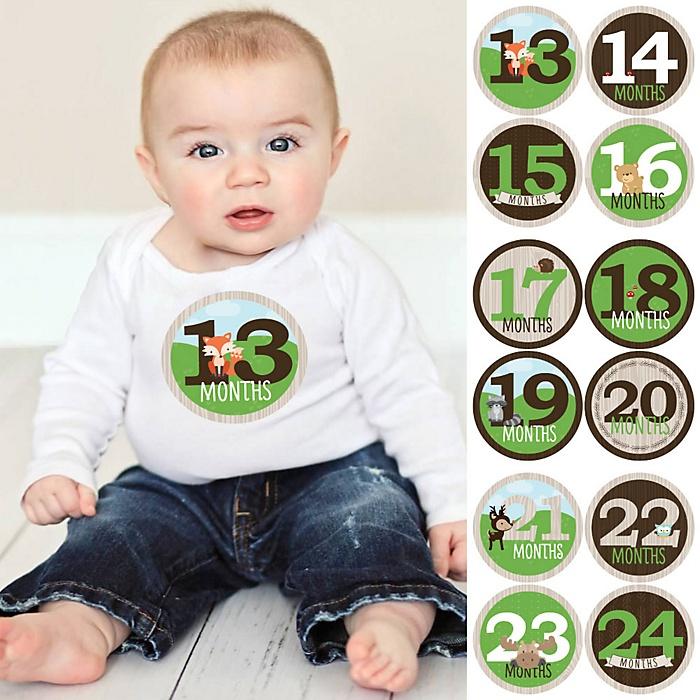 Baby Second Year Monthly Sticker Set - Woodland Creatures - Baby Shower Gift Ideas -  13 - 24 Months Stickers