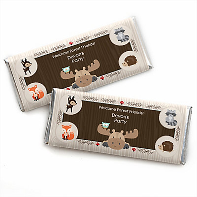 Woodland Creatures   Personalized Candy Bar Wrappers Baby Shower Favors    Set Of 24