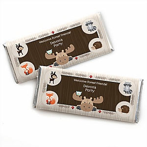 Woodland Creatures - Personalized Candy Bar Wrapper Baby Shower or Birthday Party Favors - Set of 24