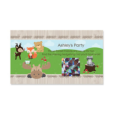 Woodland Creatures Personalized Party Game Scratch Off Cards