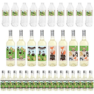 Woodland Creatures - Mini Wine Bottle Labels, Wine Bottle Labels and Water Bottle Labels - Baby Shower or Birthday Party Decorations - Beverage Bar Kit - 34 Pieces