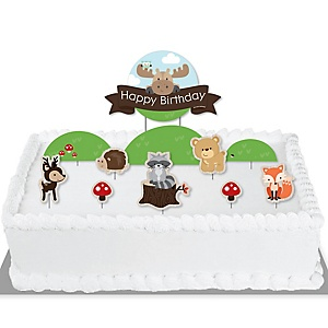 Woodland Creatures - Birthday Party Cake Decorating Kit - Happy Birthday Cake Topper Set - 11 Pieces