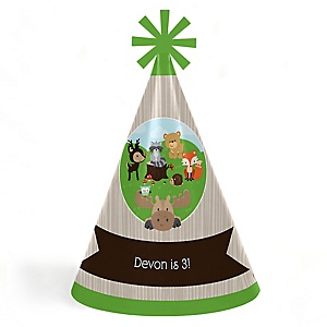 Woodland Creatures - Personalized Cone Happy Birthday Party Hats for Kids and Adults - Set of 8 (Standard Size)
