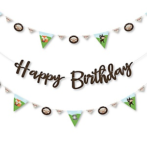 Woodland Creatures - Birthday Party Letter Banner Decoration - 36 Banner Cutouts and Happy Birthday Banner Letters