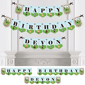 Woodland Creatures - Personalized Birthday Party Bunting Banner & Decorations