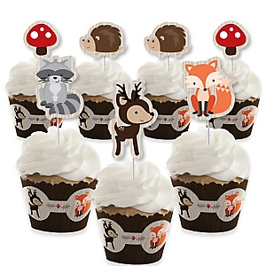 Woodland Creatures - Cupcake Decorations - Baby Shower or Birthday Party Cupcake Wrappers and Treat Picks Kit - Set of 24