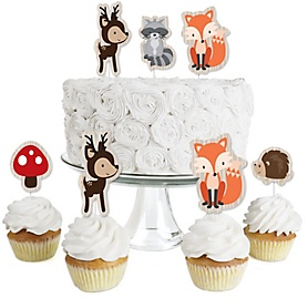 Woodland Creatures - Dessert Cupcake Toppers - Baby Shower or Birthday Party Clear Treat Picks - Set of 24