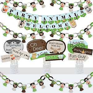 Woodland Creatures - Banner and Photo Booth Decorations - Baby Shower or Birthday Party Supplies Kit - Doterrific Bundle