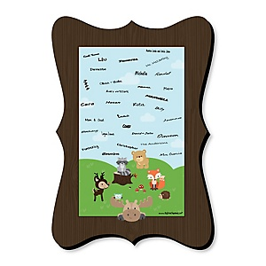 Woodland Creatures - Unique Alternative Guest Book - Baby Shower or Birthday Party Signature Mat