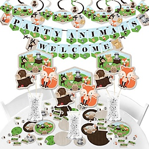 Woodland Creatures - Baby Shower or Birthday Party Supplies - Banner Decoration Kit - Fundle Bundle