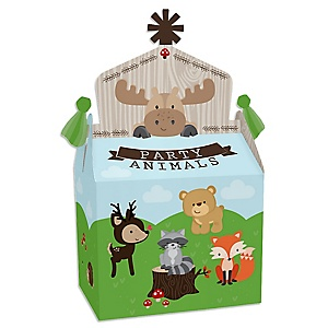 Woodland Creatures - Treat Box Party Favors - Baby Shower or Birthday Party Goodie Gable Boxes - Set of 12