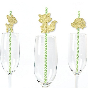 Gold Glitter Fox, Deer and Hedgehog Party Straws - No-Mess Real Gold Glitter Cut-Outs and Decorative Woodland Creatures Baby Shower or Birthday Party Paper Straws - Set of 24