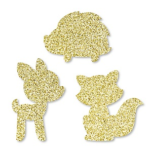Gold Glitter Fox, Deer and Hedgehog - No-Mess Real Gold Glitter Cut-Outs - Woodland Creatures Baby Shower or Birthday Party Confetti - Set of 24