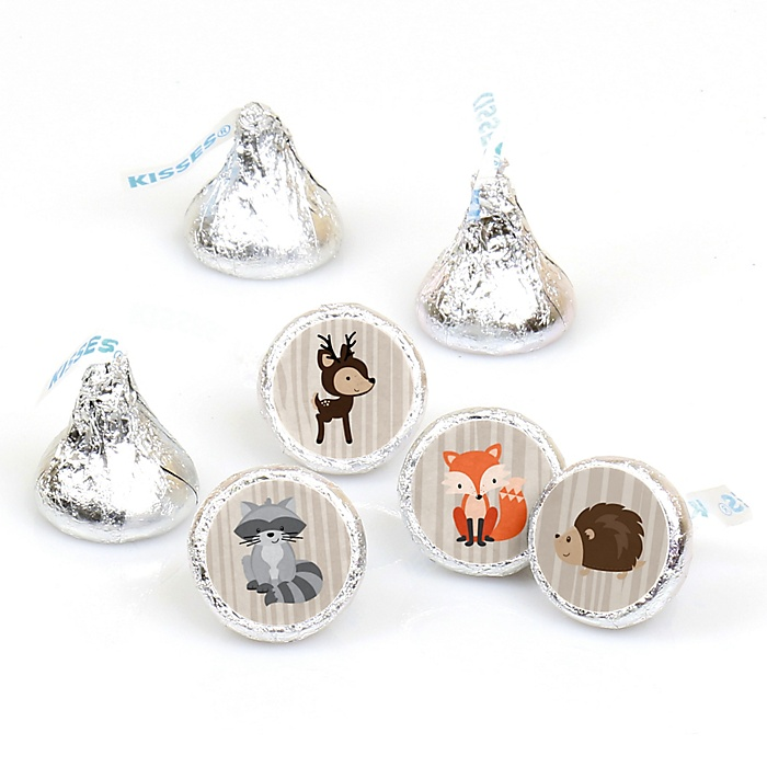 Woodland Creatures - Round Candy Labels Party Favors - Fits Hershey's Kisses - 108 ct