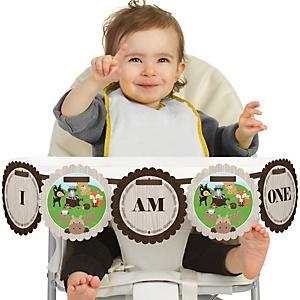 Woodland Creatures 1st Birthday - I am One - First Birthday High Chair Banner