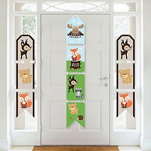 Woodland Creatures - Hanging Vertical Paper Door Banners - Baby Shower or Birthday Party Wall Decoration Kit - Indoor Door Decor