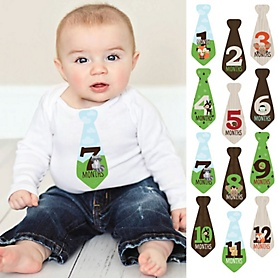 Tie Baby Boy Monthly Stickers - Woodland Creatures – Baby Shower Gift Ideas - Necktie 12 Piece