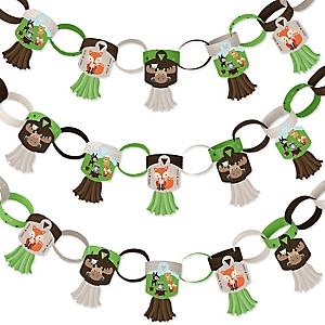 Woodland Creatures - 90 Chain Links and 30 Paper Tassels Decoration Kit - Baby Shower or Birthday Party Paper Chains Garland - 21 feet