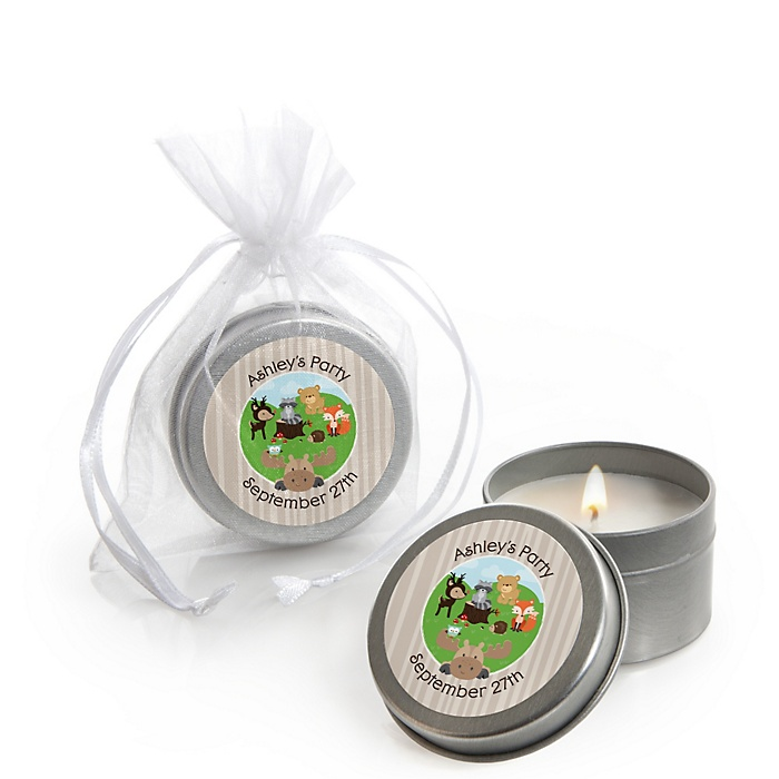 Woodland Creatures - Personalized Party Candle Tin Favors - Set of 12