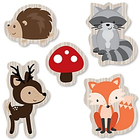 Woodland Creatures - DIY Shaped Party Paper Cut-Outs - 24 ct