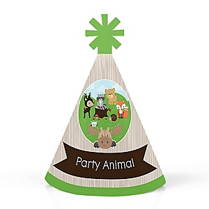 Woodland Creatures - Personalized Mini Cone Baby Shower or Birthday Party Hats - Small Little Party Hats - Set of 10