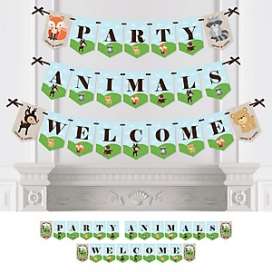 Woodland Creatures - Baby Shower or Birthday Party Bunting Banner - Party Decorations - Party Animals Welcome