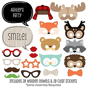 Woodland Creatures - 20 Piece Photo Booth Props Kit