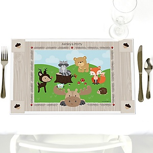 Woodland Creatures - Party Table Decorations - Personalized Party Placemats - Set of 12