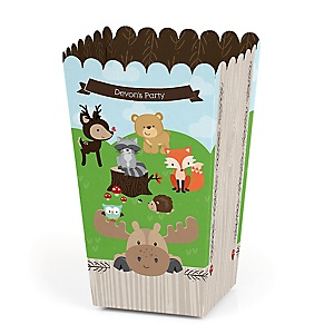 Woodland Creatures - Personalized Party Popcorn Favor Treat Boxes - Set of 12