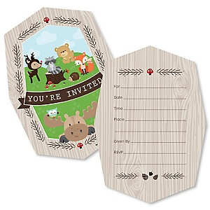 Woodland Creatures - Shaped Fill-In Invitations - Baby Shower or Birthday Party Invitation Cards with Envelopes - Set of 12