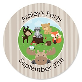 Woodland Creatures - Personalized Party Sticker Labels - 24 ct