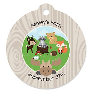 Woodland Creatures - Round Personalized Party Tags - 20 ct