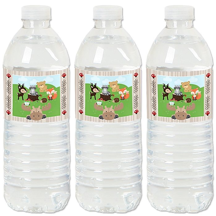 Woodland Creatures - Baby Shower or Birthday Party Water Bottle Sticker Labels - Set of 20