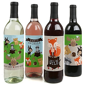Woodland Creatures - Baby Shower or Birthday Party for Women and Men Decorations for Women and Men - Wine Bottle Label Stickers - Set of 4