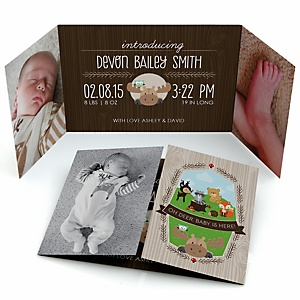 Woodland Creatures - Photo Birth Announcements