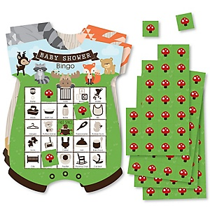 Woodland Creatures - Picture Bingo Cards and Markers - Baby Shower Shaped Bingo Game - Set of 18