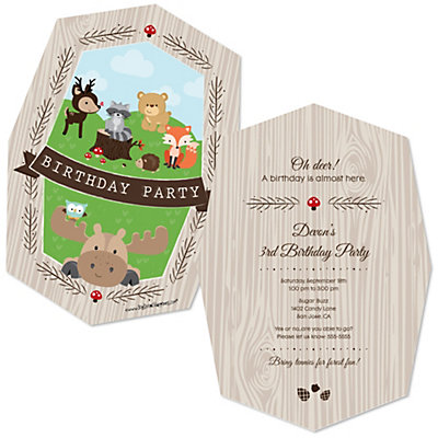 woodland creatures shaped birthday party invitations set of 12