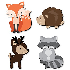 Woodland Creatures - Nursery and Kids Room Home Decorations - Shaped Wall Art - 4 Piece