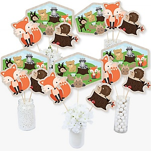 Woodland Creatures - Baby Shower or Birthday Party Centerpiece Sticks - Table Toppers - Set of 15