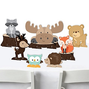 Woodland Creatures - Baby Shower or Birthday Party Centerpiece Table Decorations - Tabletop Standups - 7 Pieces