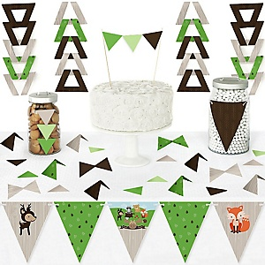 Woodland Creatures - DIY Pennant Banner Decorations - Baby Shower or Birthday Party Triangle Kit - 99 Pieces