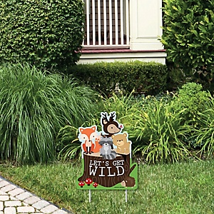 Woodland Creatures - Outdoor Lawn Sign - Baby Shower or Birthday Party Yard Sign - 1 Piece