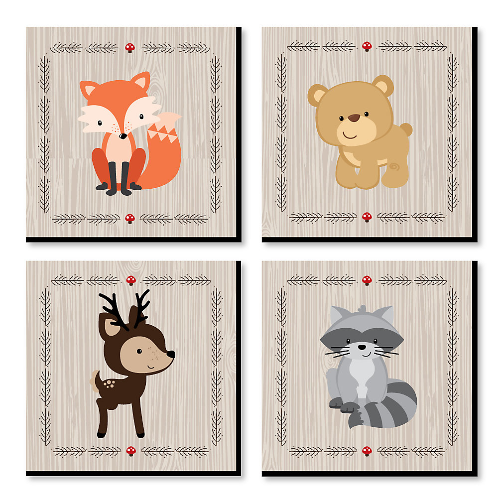 Woodland Creatures Nursery Decor 11 X Inches Kids Wall Art Baby Shower Gift Ideas Set Of 4 Prints For S Room